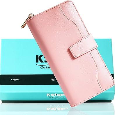 5b4c13b6d283 Kstarplus 財布 レディース 長財布 ブランド カード16枚収納 取り出しやすい小銭入れ ラウンドファスナー