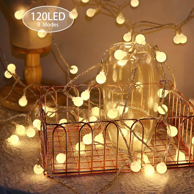 Luz del Jard/ín Luces Decorativas de Iluminaci/ón KOREY Cuerda de Luz de Jard/ín 120LED 15m Cadena de Bombillas