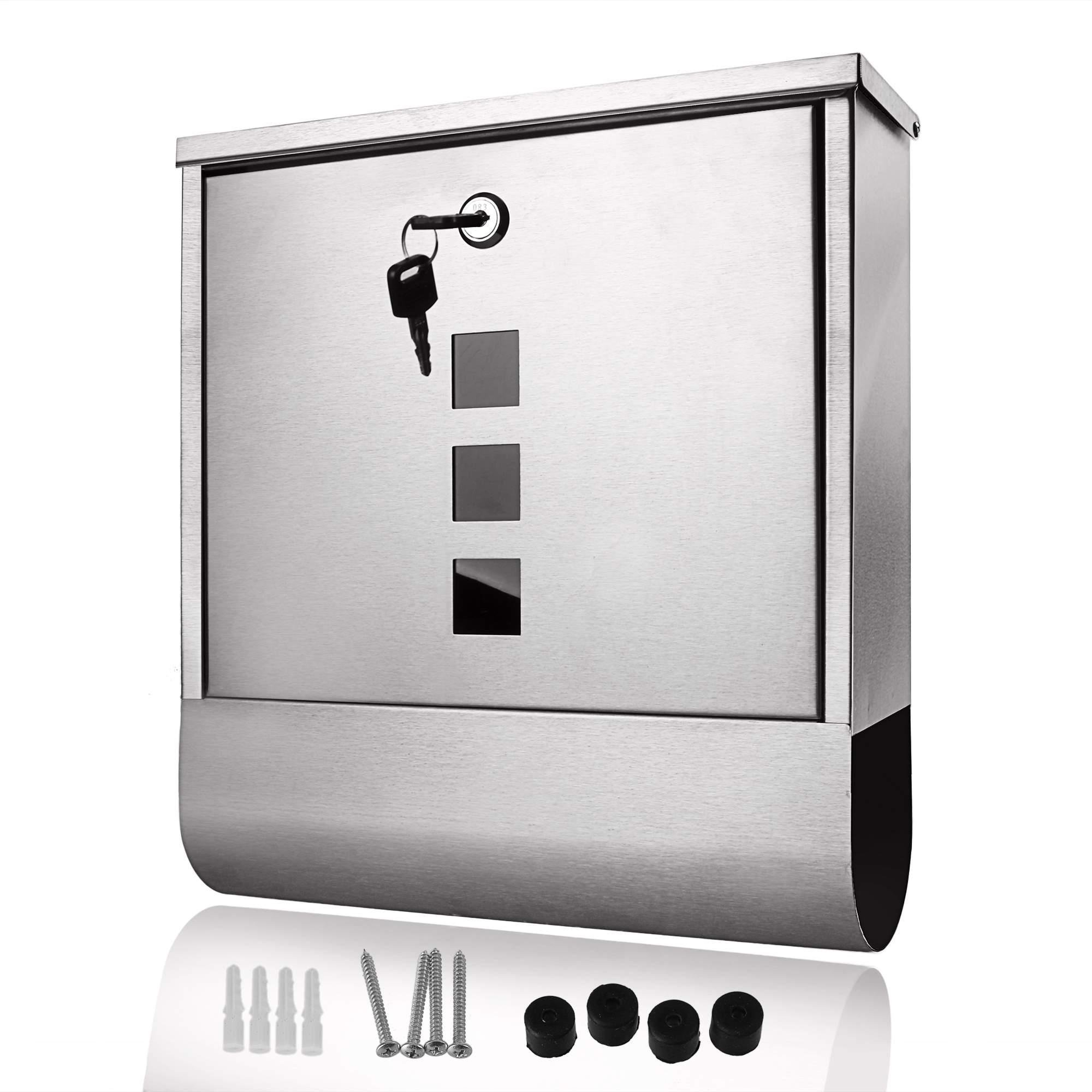Stainless Steel Locking Mailbox Wall Mounted Letterbox [US Stock]
