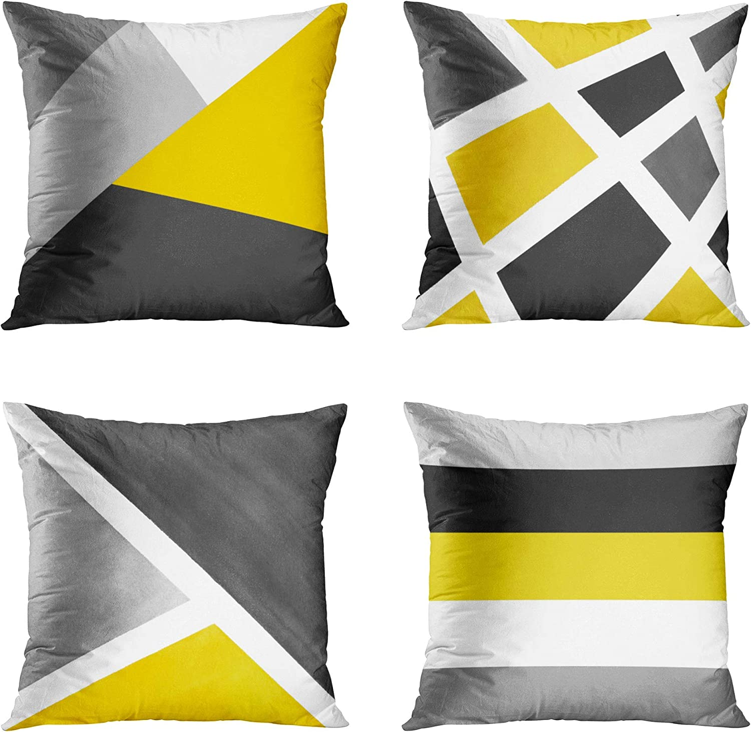 Emvency Set of 4 Throw Pillow Covers Modern Abstract Stripe Simple Geometric Acrylic Bold Decorative Pillow Cases Home Decor Square 18x18 Inches Pillowcases(Grey Yellow)