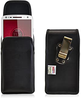 product image for Turtleback Belt Case Made for Motorola Droid Turbo 2 Black Vertical Holster Leather Pouch with Heavy Duty Rotating Ratcheting Belt Clip Made in USA
