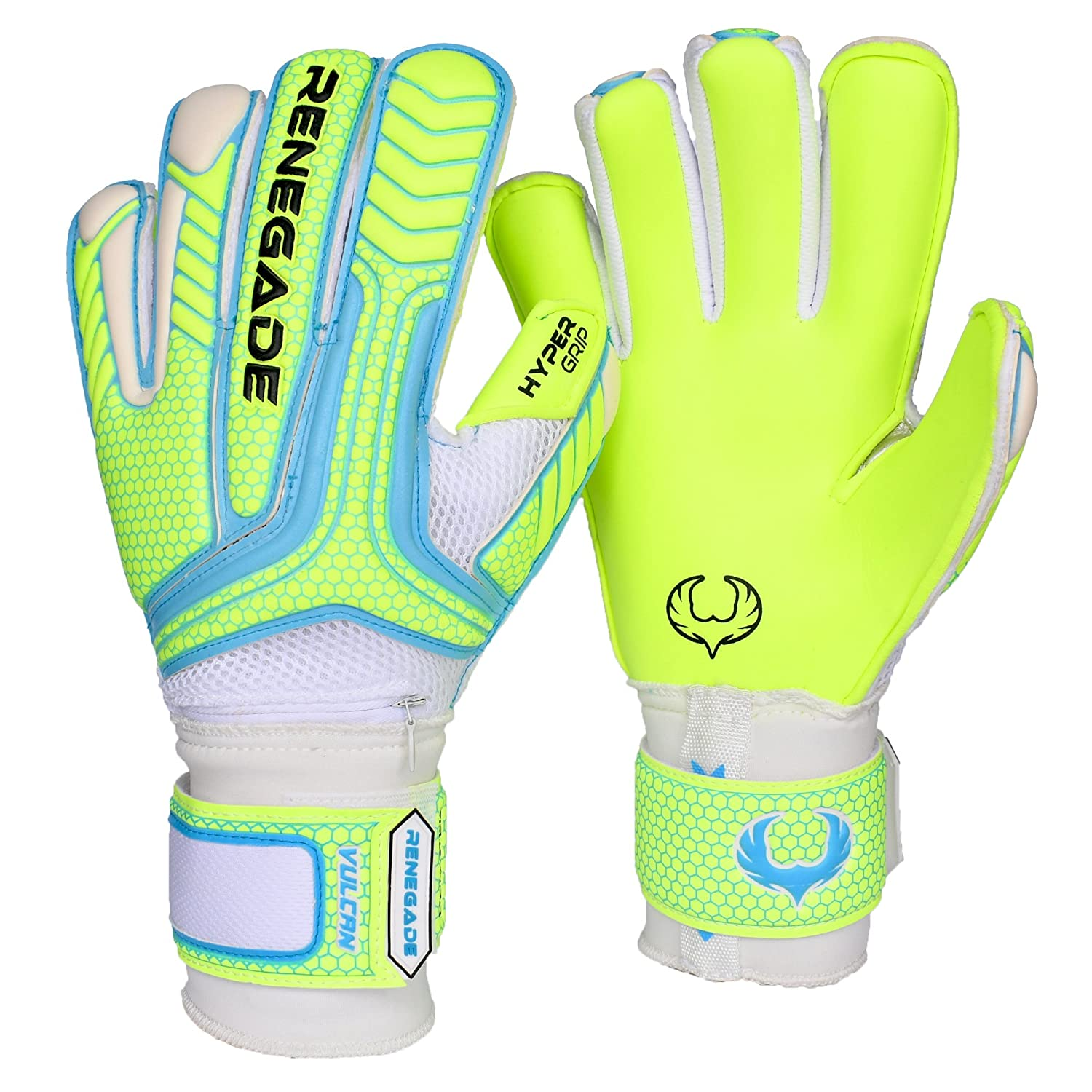 Renegade GK Vulcan Goalie Gloves with Removable Pro fingersaves – サイズ6 – 11、3スタイル/カット(ハイブリッド、ロール、フラット) – 向上Anyサッカーゴールキーパーの自信&パフォーマンス – ユニセックス、大人用、& Youth B0741KMS6H 8|ロールカット(アビス)(Roll Cut (Abyss)) 8