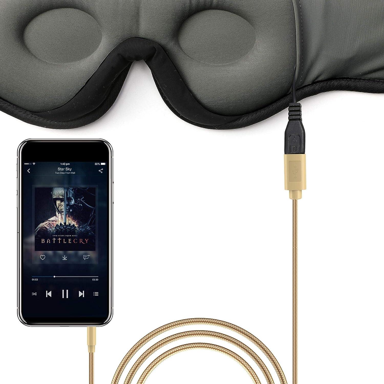 Navly Masque pour Dormir Masque de Sommeil Sans Fil Voyage Bandeau pour Les Yeux en Forme de Coupe 3D 2020 Mis /à Jour /Écouteurs Sleep pour Dormeurs Lat/éraux avec Haut-Parleurs St/ér/éo Ultra-Minces
