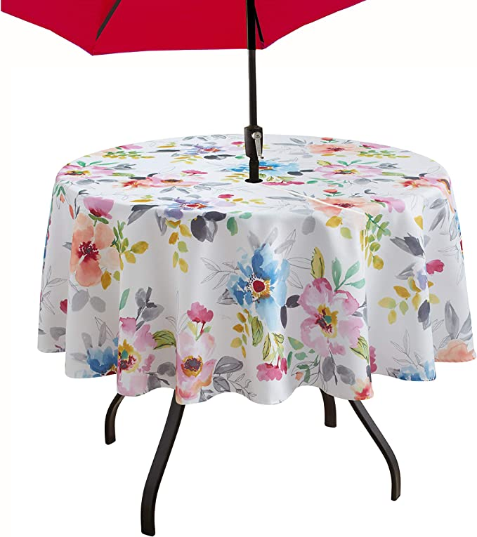 Amazon Com Benson Mills Indoor Outdoor Spillproof Tablecloth For Spring Summer Party Picnic Harper 70 Round With Umbrella Hole Home Kitchen