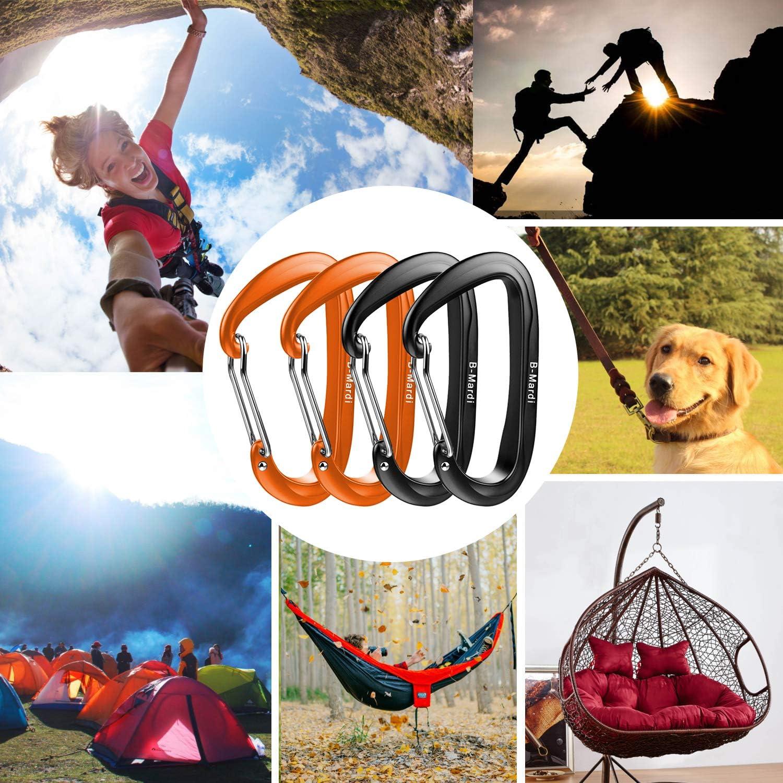 Camping,Hiking 2697 lbs B-Mardi Ultra Sturdy Carabiner Clips,4 Pack,12KN Heavy Duty Caribeaners for Hammocks Outdoor,Hiking /& Utility Locking Dog Leash and Harness Swing
