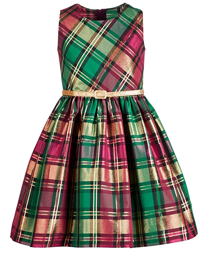 Kids 1950s Clothing & Costumes: Girls, Boys, Toddlers Bonnie Jean Big Girls Metallic Plaid Dress $49.95 AT vintagedancer.com