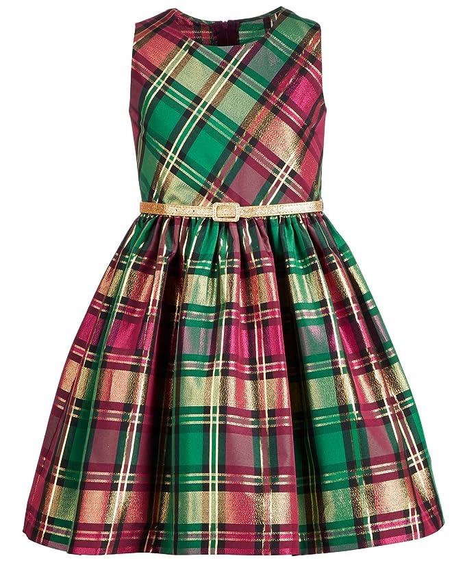 50s Girl Costumes, 50s Girl's Dresses Bonnie Jean Big Girls Metallic Plaid Dress $49.95 AT vintagedancer.com