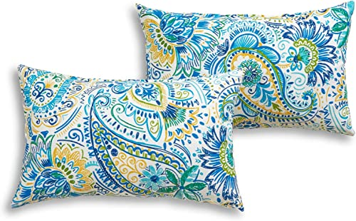 South Pine Porch AM5811S2-BALTIC Baltic Paisley Outdoor 19 x 12-inch Rectangle Accent Pillow