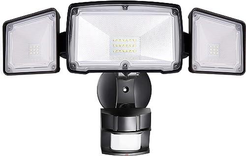 Amico 3 Head LED Security Lights Motion Sensor Outdoor Adjustable 40W, 3500LM, 5000K, IP65 Waterproof, ETL Certified, Exterior Flood Light for Garage, Yard Renewed