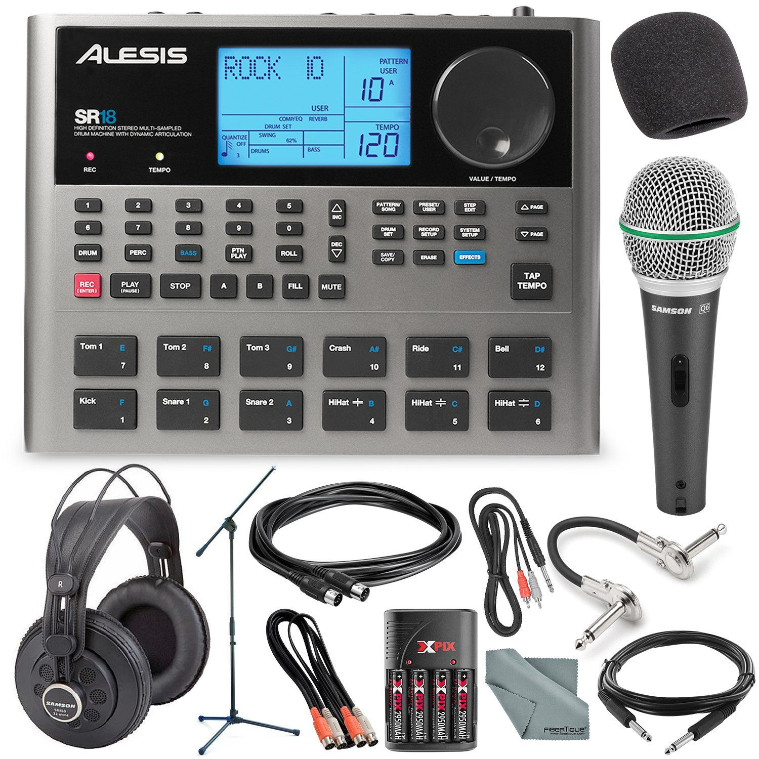 Alesis SR18 18 Bit Portable Drum Machine with Effects and Platinum Bundle w/Microphone + Headphone + Cables + Fibertique + Batteries & Charger + Mic Stand & Windscreen by Photo Savings