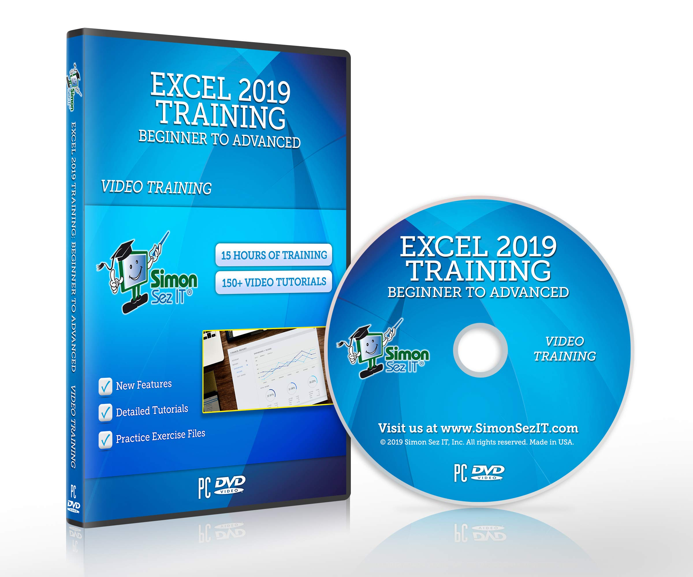 Excel 2019 Training DVD by Simon Sez IT: Excel Tutorial For Absolute Beginners to Advanced Users - Excel Course Including Exercise Files by Simon Sez IT