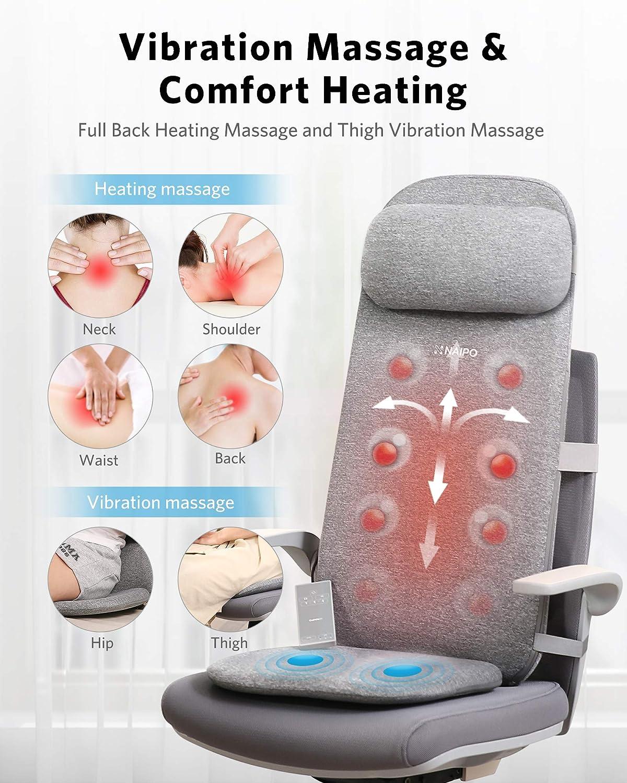 Naipo Massaggiatore schiena cuscino per massaggio sedile massaggiante per la schiena Il massaggiatore elettrico con funzione termica pu/ò rilassare i muscoli della schiena a casa o in ufficio
