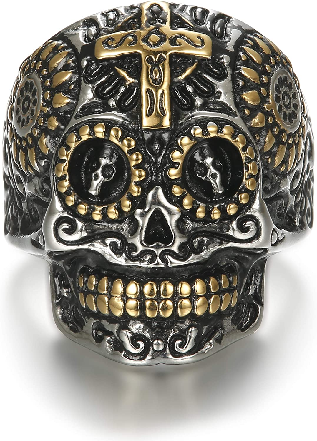 LOLIAS Skull Rings Stainless Steel Skull Rings for Men Biker Cross Rings Vintage Size 7-13