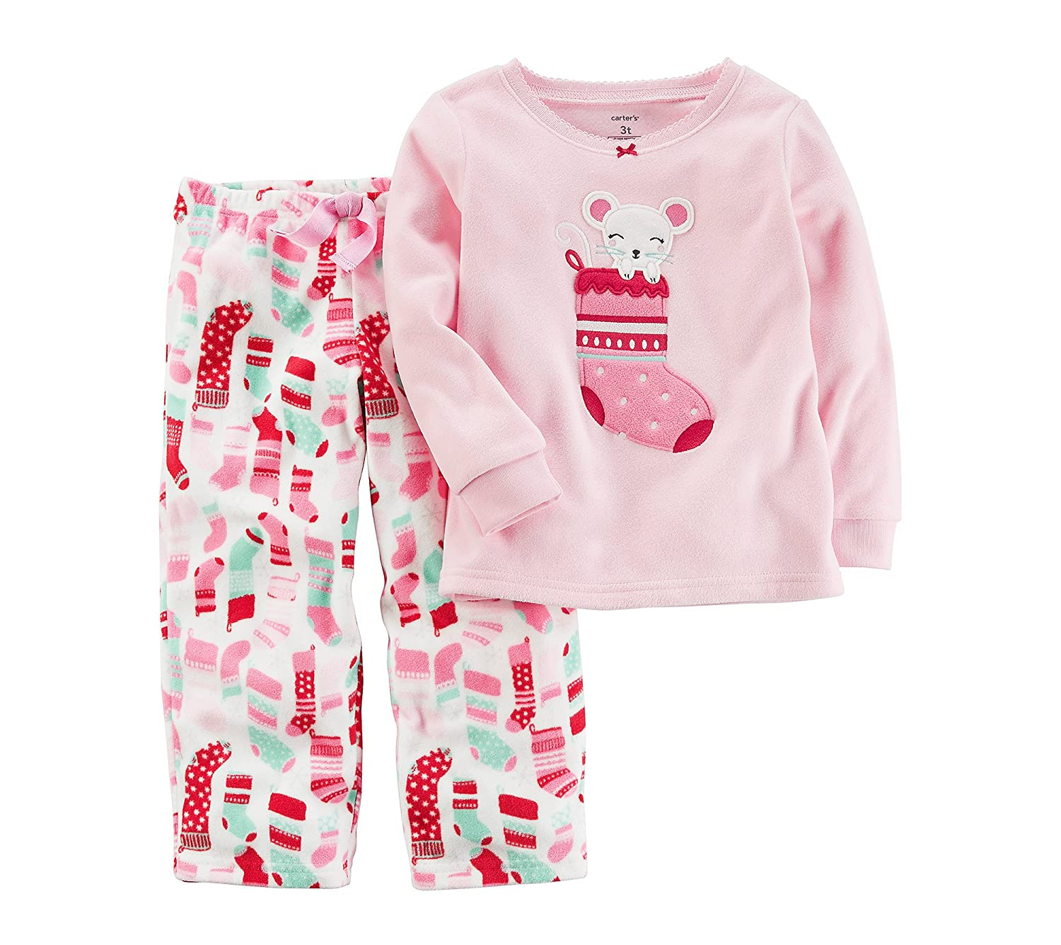 Amazon.com  Carter s Girls  12M-8 2 Piece Christmas Stocking Fleece Pajamas   Clothing 36a295610