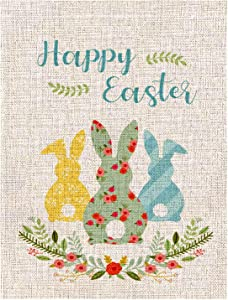 Easter Garden Flag Bunny Rabbit Double Sided Spring Yard Burlap Banner for Spring Summer Farmhouse Home Outdoor Holiday Decoration 12 x 18 Inch