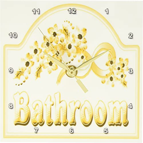 3dRose dc_60566_1 Victorian Yellow Gold Bathroom Sign Desk Clock, 6 by 6-Inch