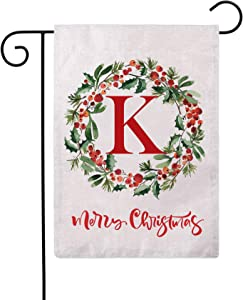 ULOVE LOVE YOURSELF Merry Christmas Wreath Decorative Garden Flags with Monogram Letter K Double Sided Winter Holiday Outdoor Garden Flags 12.5×18 Inch for House Garden Yard Patio Decor (K)
