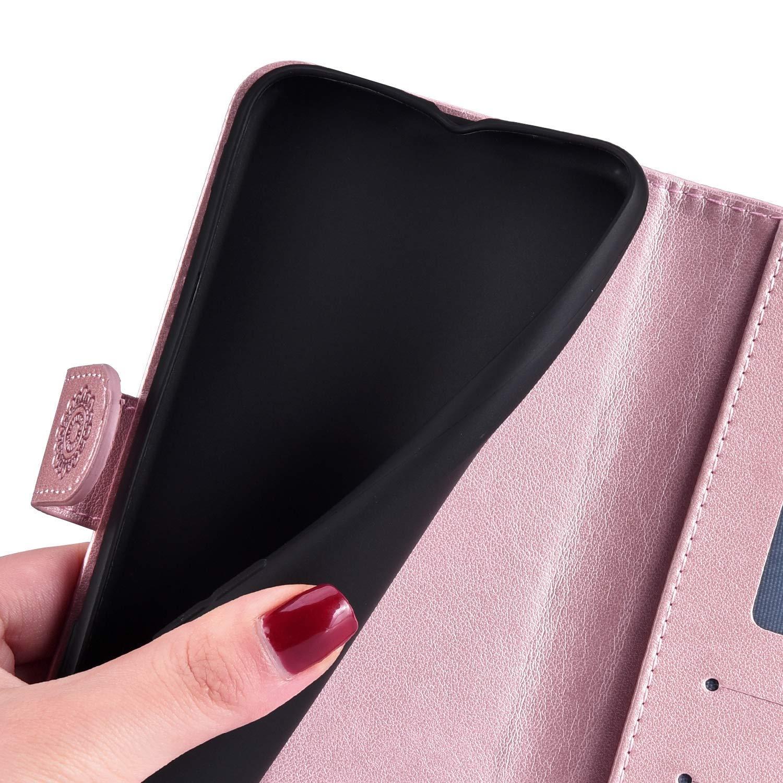 YSIMEE Compatibile con Cover Samsung Galaxy A7 2018,PU TPU Portafogli in Pelle Case con Porta Carte Diamante Bling per Pattern con Mandala Supporto di Stand,Slot per Schede,Cover Magnetica-Blu