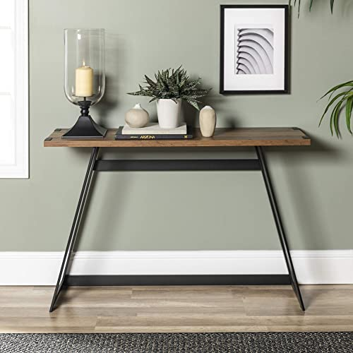 WE Furniture Industrial Farmhouse Round Accent Entryway Table, 46 Inch, Brown Reclaimed Barnwood