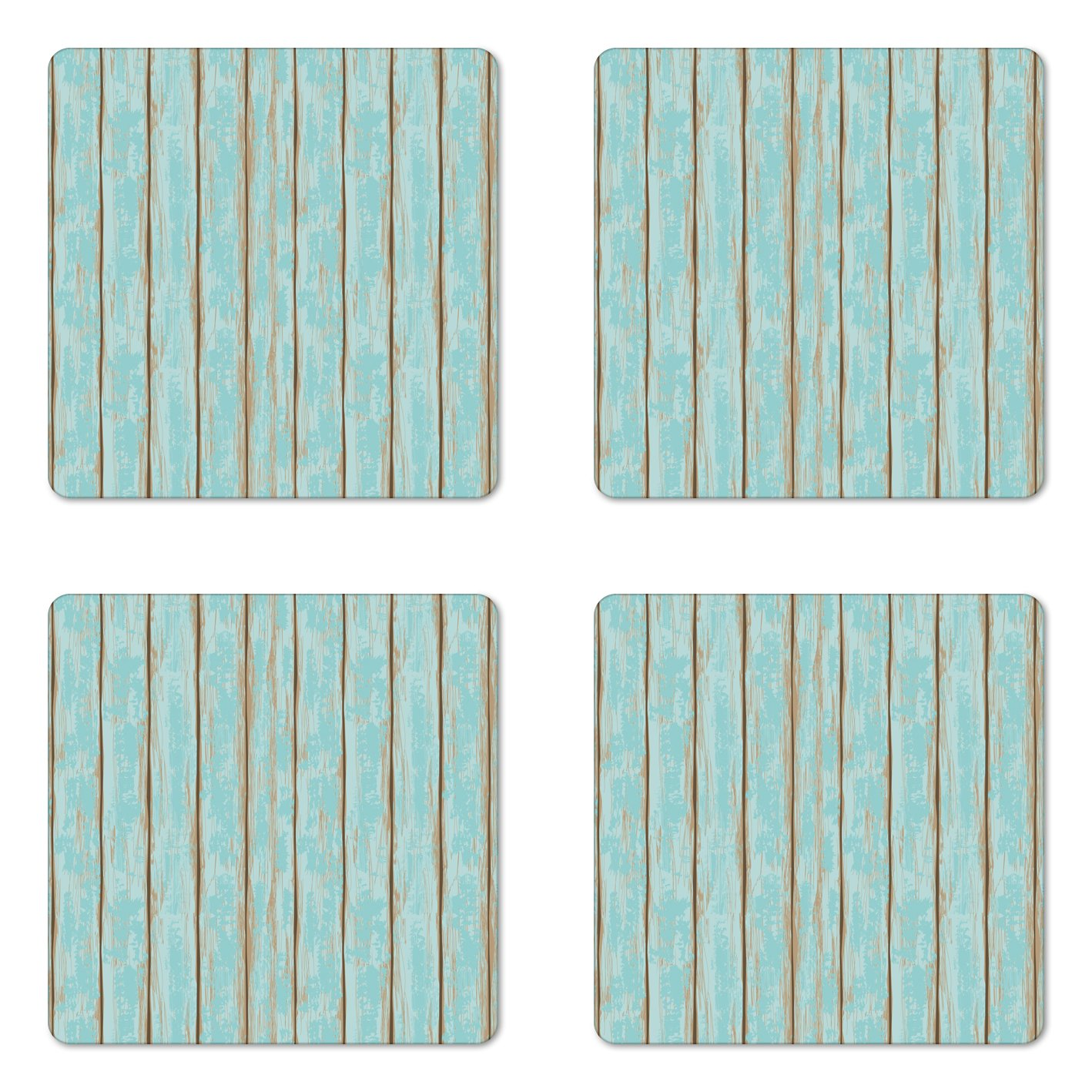 Lunarable Wood Print Coaster Set of Four by, Old Fashioned Weathered Rustic Planks Summer Cottage Beach Coastal Theme, Square Hardboard Gloss Coasters for Drinks, Pale Blue Tan