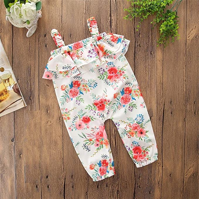 c6662ab271d Amazon.com  Wesracia Cute Kids Baby Girls Bowknot Flower Print Overalls  Jumpsuit Pants Summer Outfits  Clothing