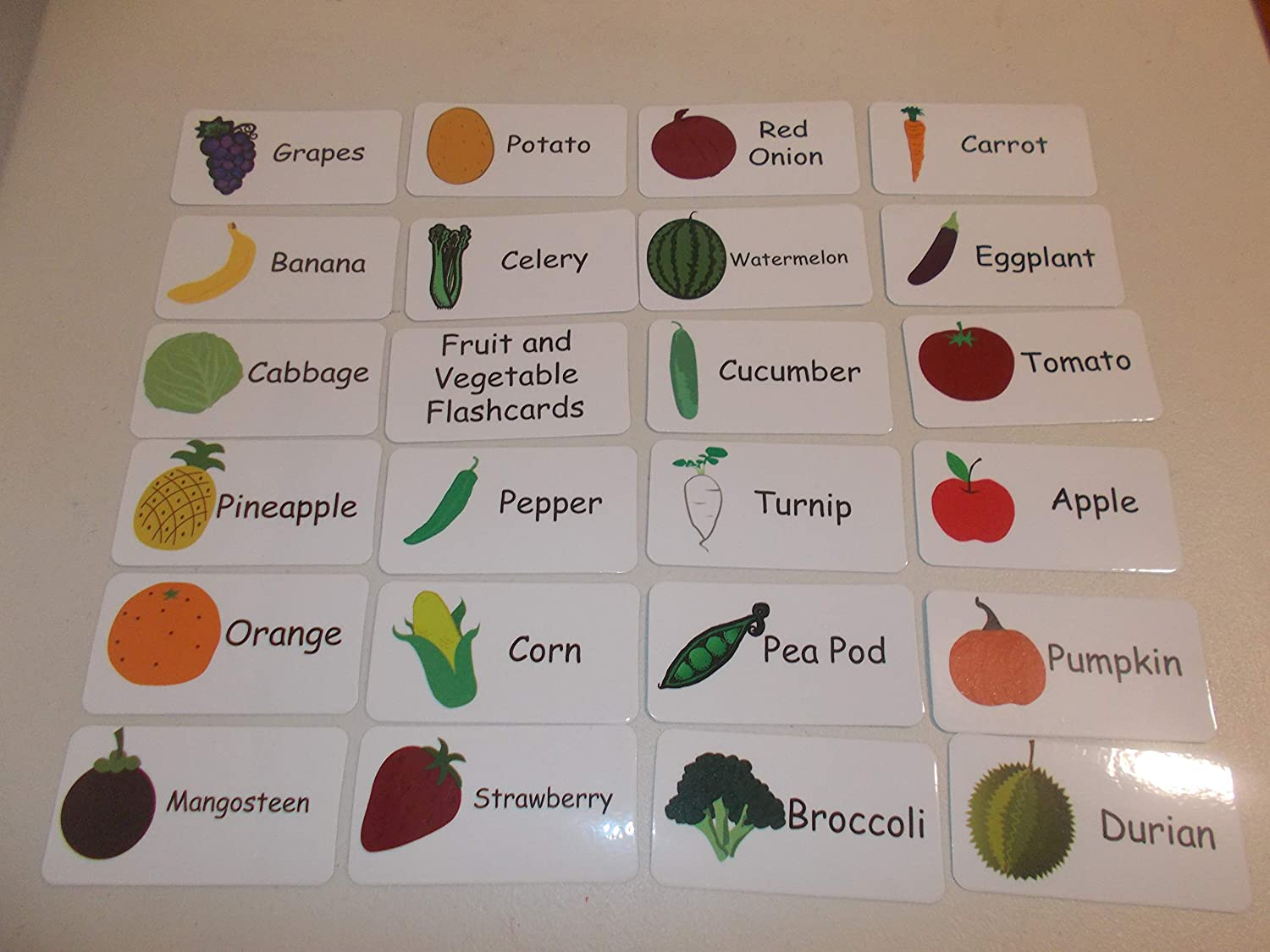 20 Laminated Fruits and Vegetable Flashcards.