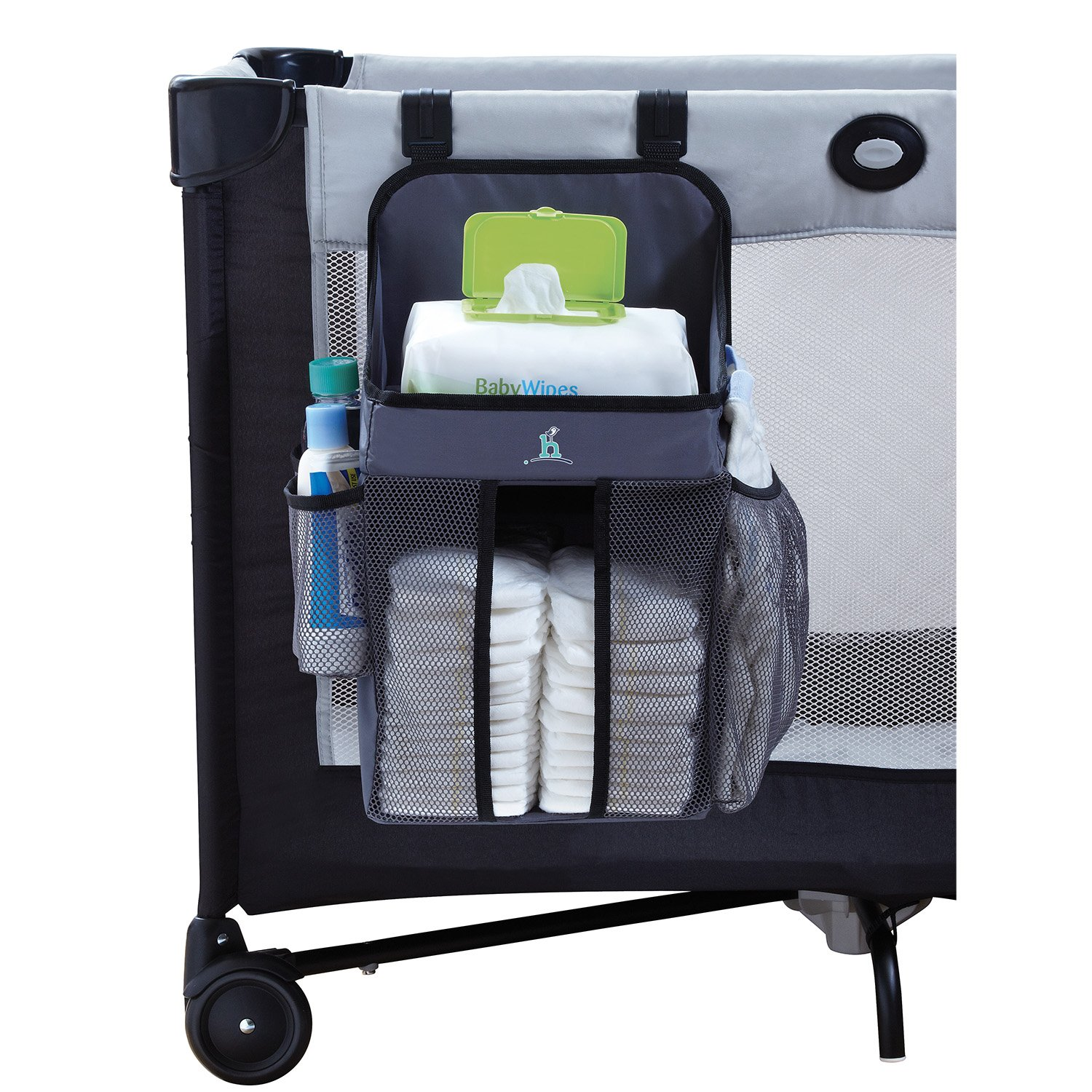 hiccapop Playard Nursery Organizer and Diapers Organizer | Baby Diaper Caddy | Universal Fit for Hanging on All Playards | Store Lotion, Wet Wipes and More BPOP-GY