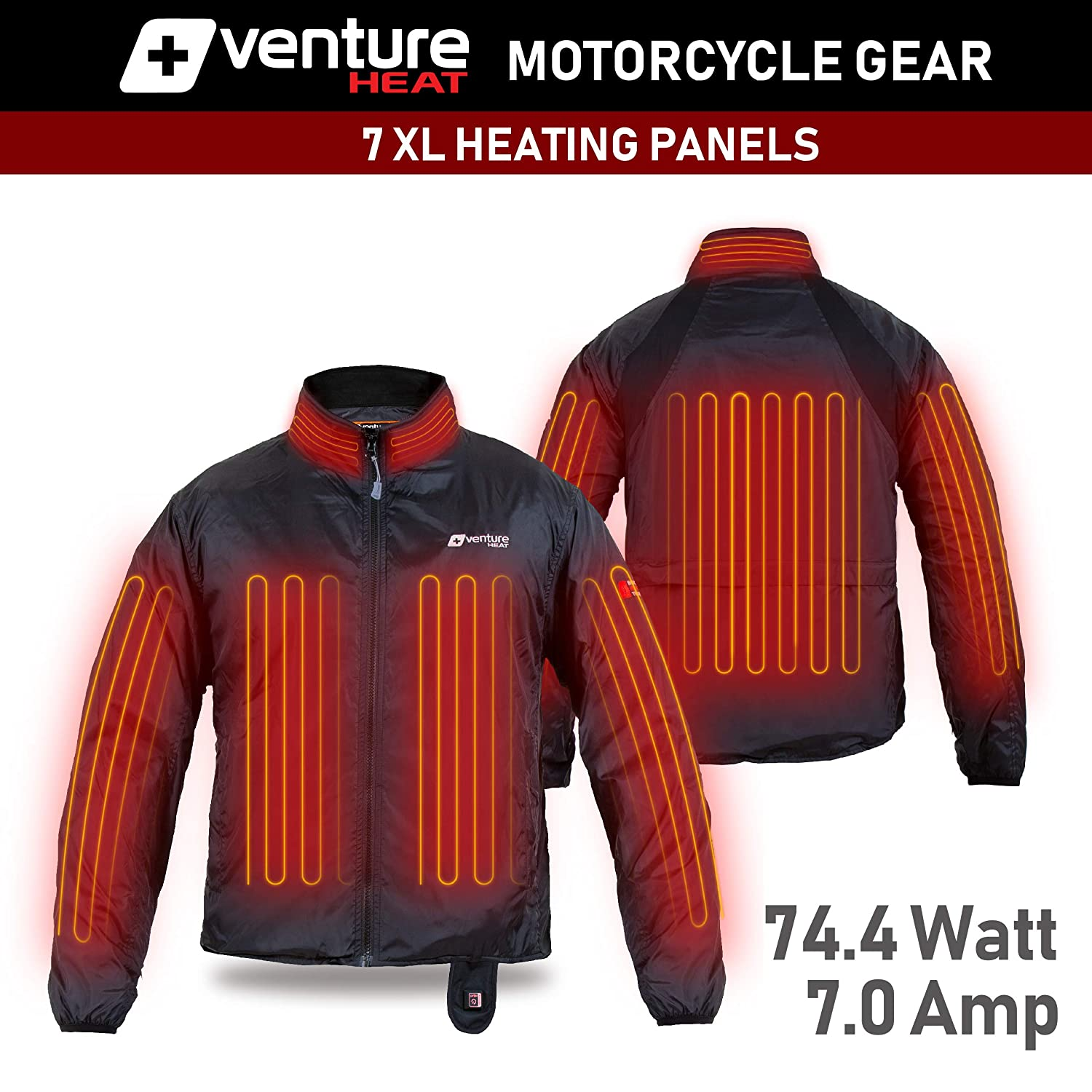 75.0W Deluxe Motorcycle Jacket for Men and Women Venture Heat 12V Motorcycle Heated Jacket Liner with Wireless Remote XXXL