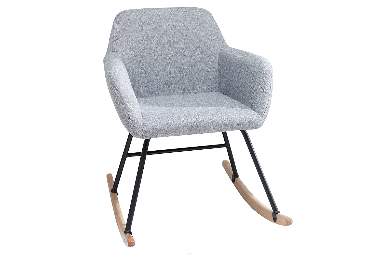 Dunord Design Schaukelstuhl Sessel Grau Schwingsessel Relaxstuhl