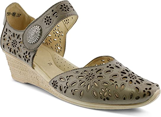 Leather Mary Jane D'Orsay Wedge