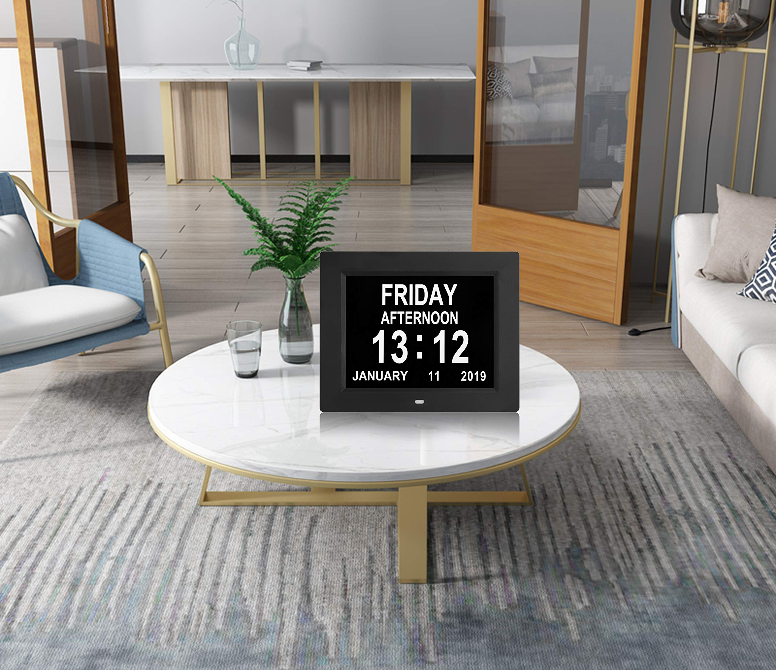 Digital Calendar Day Clocks Extra Large Non-Abbreviated Day&Month.Perfect for Seniors + Impaired Vision Dementia (Black,8-inch) by TMC (Image #6)