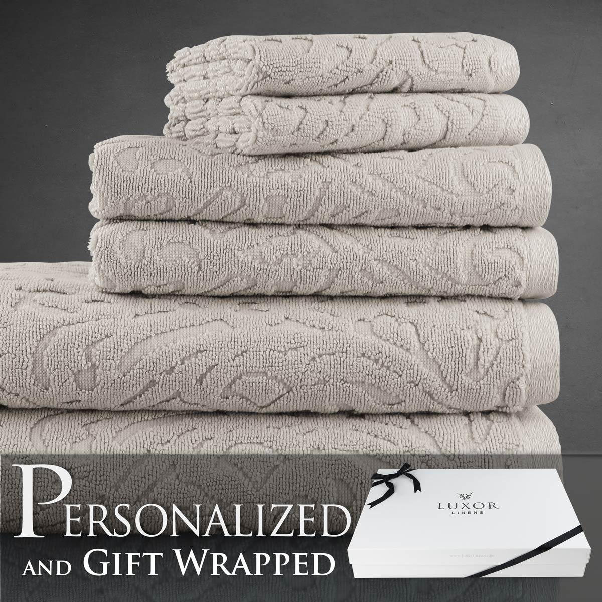 Luxor Linens New Arrival Fonte Collection Long Staple Turkish Cotton 6-Piece Towel Set - Angora - with Gift Packaging