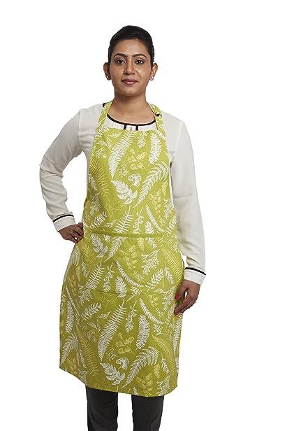 Solimo 100% Cotton Adjustable Kitchen Apron, Fern (Green) <span at amazon