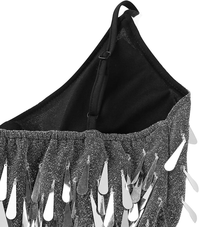 Agoky Womens Sequins Fringe Tassels Tango Latin Jazz Ballroom Dancing Dresses Maxi Skirt