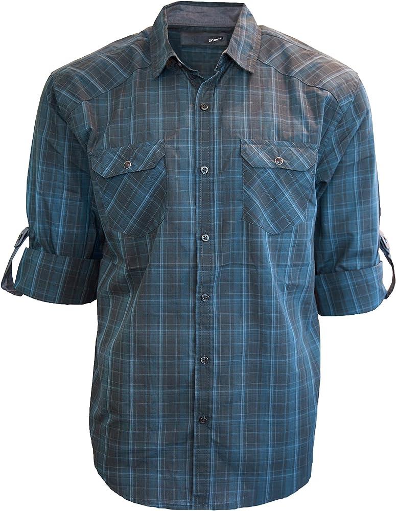 Bruno Hombres de Western cuadros Piloto botón abajo camisa: Amazon.es: Ropa y accesorios