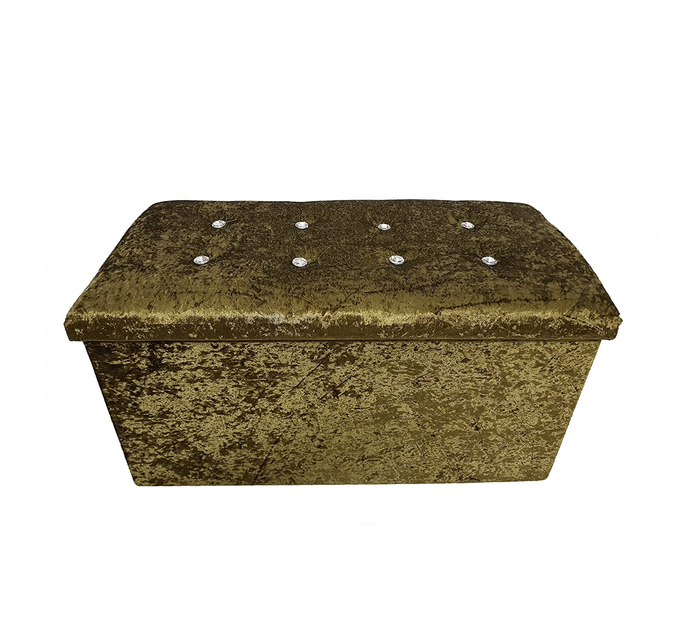 Decot-It Crushed Velvet Diamante Ottoman Seat Cubed Box Pouffee Foot Stool Beige 40x40x40cm Approx
