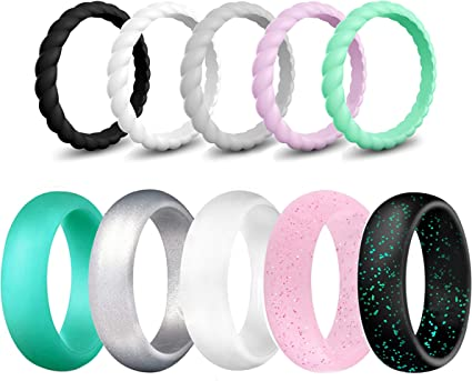 LOGA Silicone Wedding Ring for Women Thin Set Stackable and Braided Wedding Bands 10 Pack