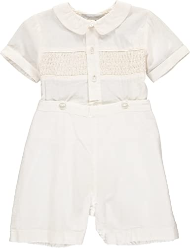 Ivory Boys Hand Smocked Special Occasion Christening//Baptism Bobbie Suit