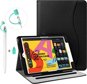 "Fintie Bundle: Multi-Angle (Black) Case Cover for iPad 7th Generation 10.2"" + 3 Pieces (Green) Apple Pencil Cap Holder, Nib Cover, Charging Cable Adapter Tether for Apple Pencil 1st Generation"