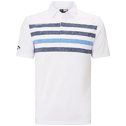 e1c6866f9 Callaway Golf 2018 Mens Opti-Dri Ventilated Chest Stripe Golf Polo Shirt  Bright White Small