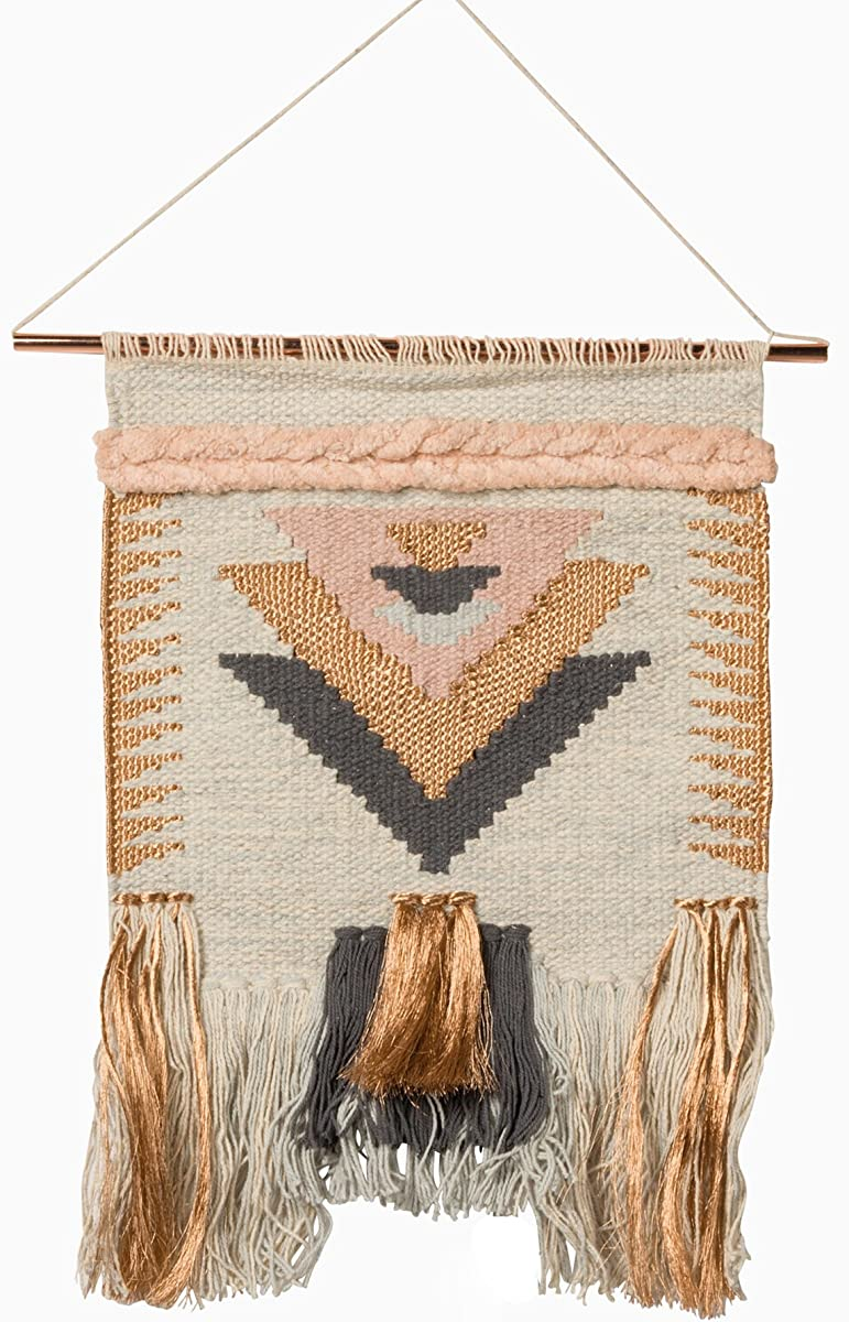 """Primitives by Kathy Handmade Allure Style Woven Wall Hanging, Fringe Tassel Banner with Copper Hanging Rod, Bohemian Decor for Apartment, Dorm, Living Room, Bedroom, Baby Nursery, 12""""W x 19""""L"""
