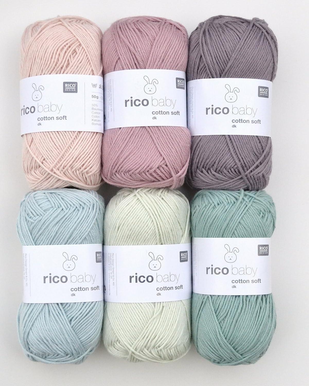 Baumwollmischgarn zum Stricken /& H/äkeln 050 Salbei Rico Baby Cotton Soft dk Fb weiche Babywolle gr/ün