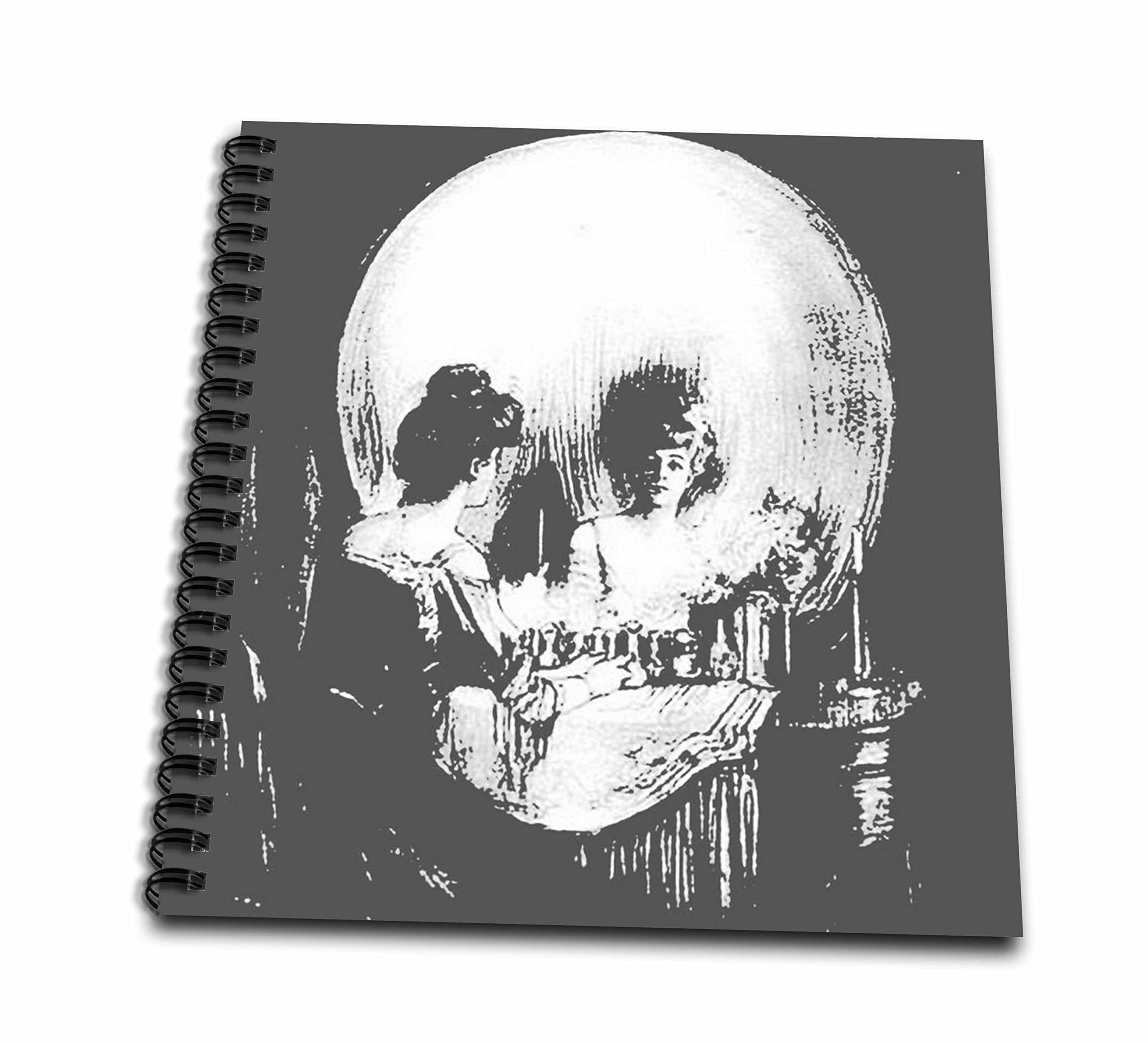 3drose db_46711_1 all is vanity ghost halloween optical illusion paranormal seasonal silhouette skeleton drawing book 8 by 8 inch