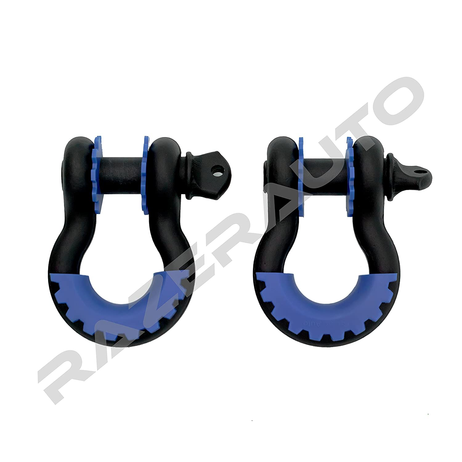 Razer Auto 1 Pair of Black D-Rings Shackle with Blue Isolator /& Washers Gear Design Rattling Protection Cover Black//Blue