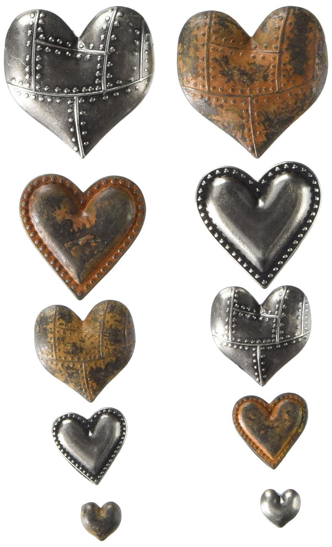 Prima Marketing 963361 Tin Hearts Finnabair Mechanicals Metal Embellishments (10/Pack), Multicolor
