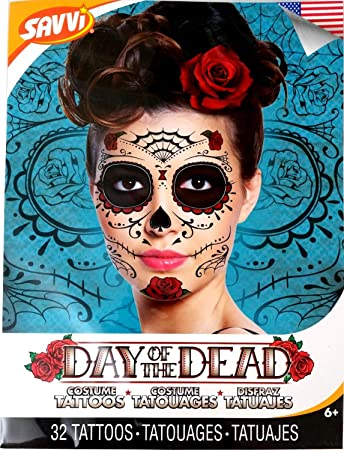 Amazon.com : Red Roses Day of the Dead Sugar Skull Temporary Face ...