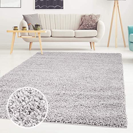 Ayshaggy Shaggy Teppich Hochflor Langflor Einfarbig Uni Grau Weich Flauschig Wohnzimmer Grosse Laufer 80 X 150 Cm