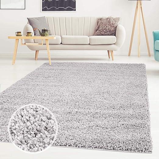 shaggy teppich flauschiger hochflor wohn teppich einfarbig uni in grau fur