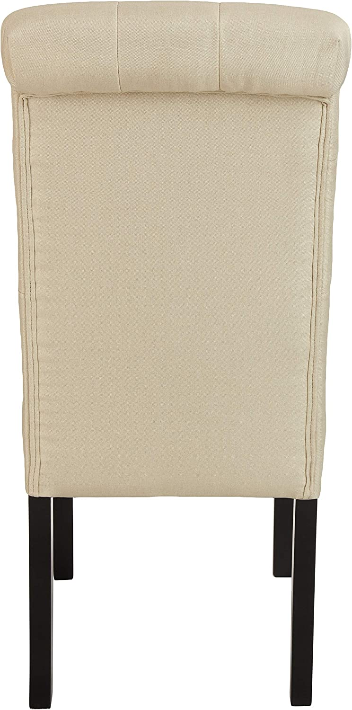 Basics lavorazione trapuntata Set da 2 beige gambe in legno Sedia da pranzo classica