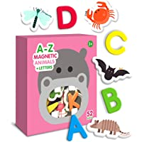 Curious Columbus Animal Magnets For Kids. Includes Alphabet Letters. Set of 52 Pieces. Foam Educational Magnetic Toy…